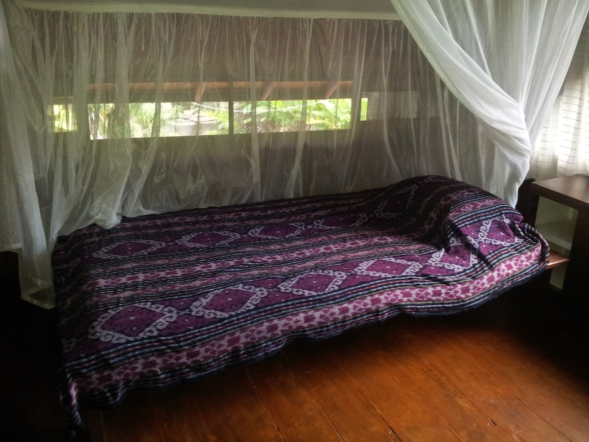 Bed with mosquito net and west-facing window.