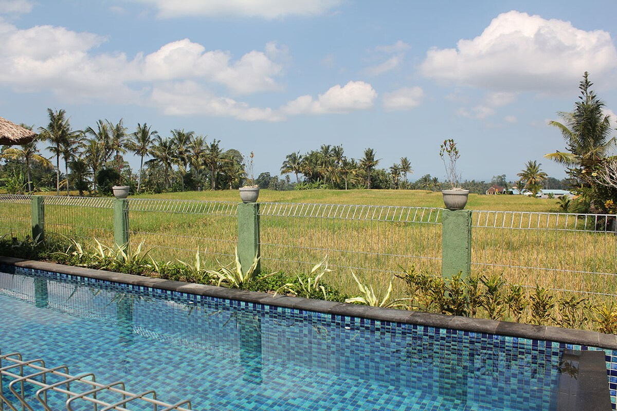Relax in the cool sparkling infinity pool and gaze over the rice fields all the way to the ocean!