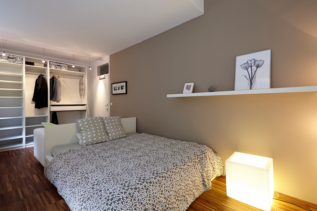 Master bedroom, all rooms have a view to the private garden