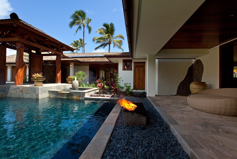 Pool courtyard and firepot.