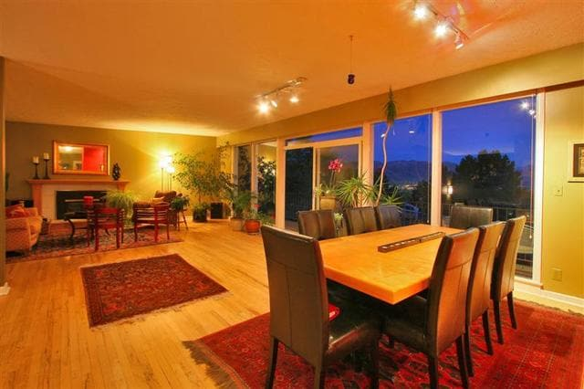 The Great Room fills with south facing sunlight by day and the city lights at night.