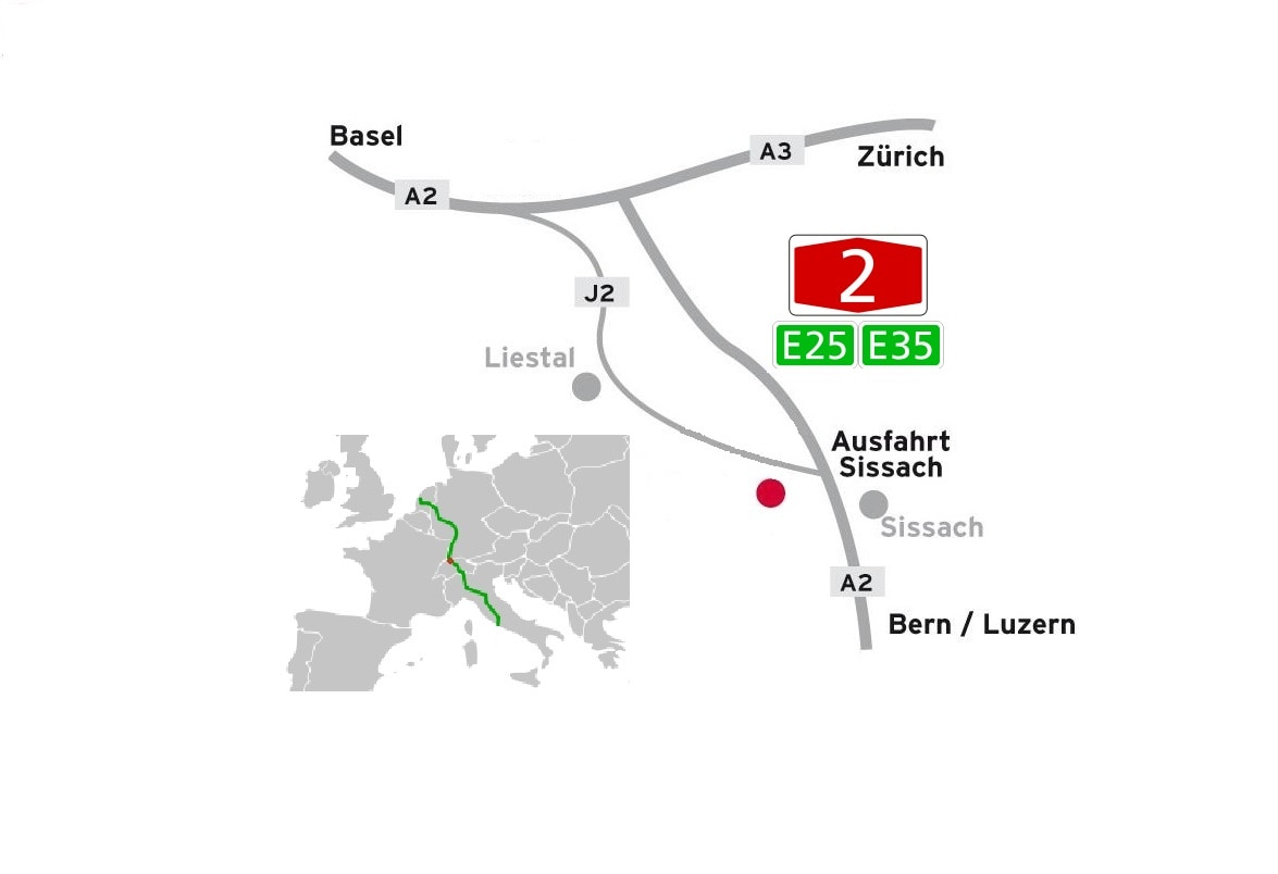 2 km from European motorways  E25 et E35, and National route N2