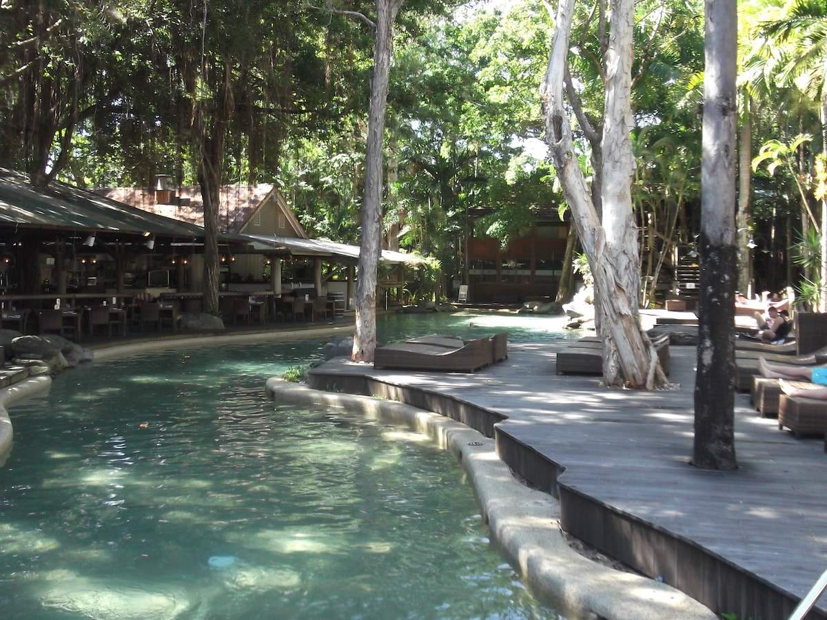Relax by the heated pool