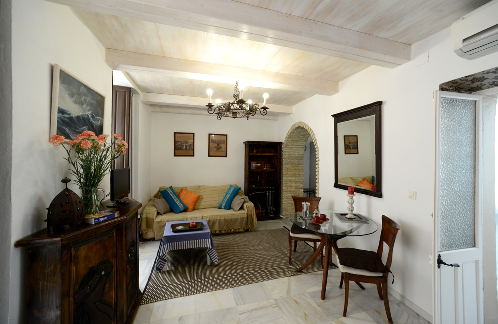 Livingroom of the apartment with airco/wifi and a sofa-bed for 2 persons/Salón con aire/wifi y una sofa-cama para 2 personas