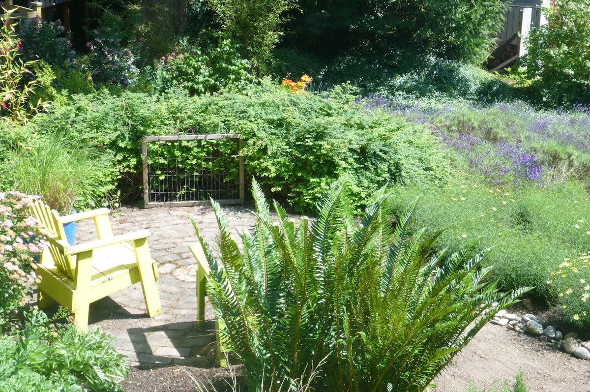 Lavendar garden and sitting area off your private porch