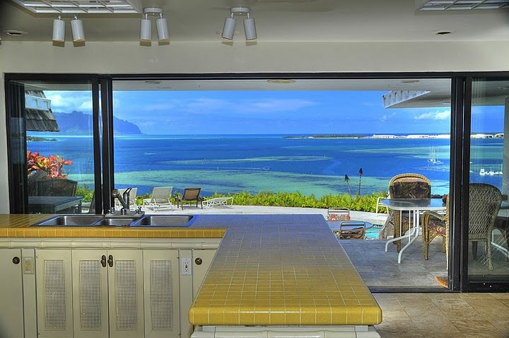 Great ocean view from the kitchen