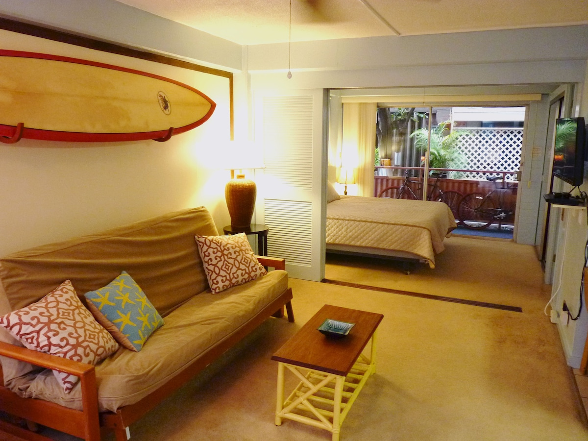 Living room, flat screen tv, surfboard for your use