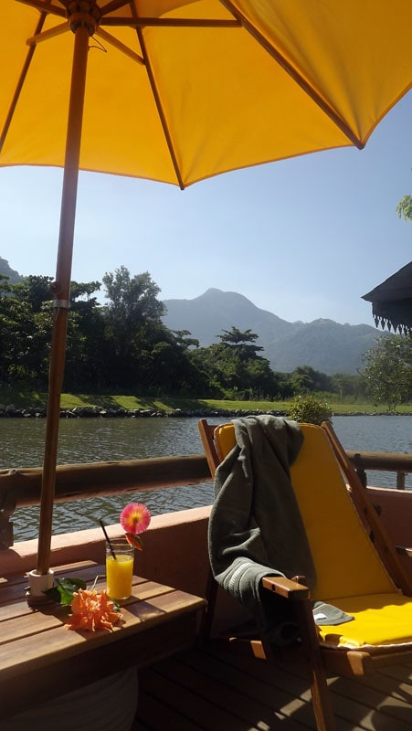 Pool deck, landscape of the lagoon and Tijuca Rainforest