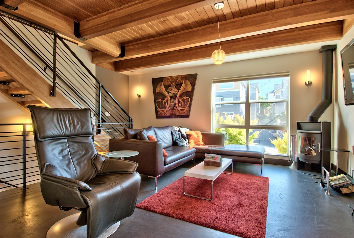 comfy living room and modern leather sofa.  Notice the iron and wood details