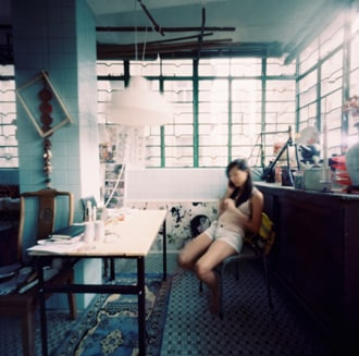 Patricia in SSS studio space. Pinhole photo by Martin Cheung
