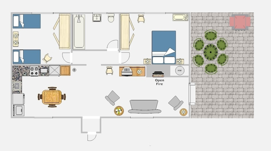 Layout of the 2 bedroom cottage