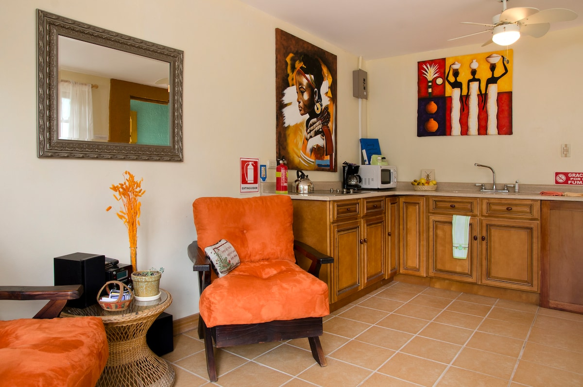 The kitchen has a microwave, stovetop and coffeemaker plus a refrigerator for you.
