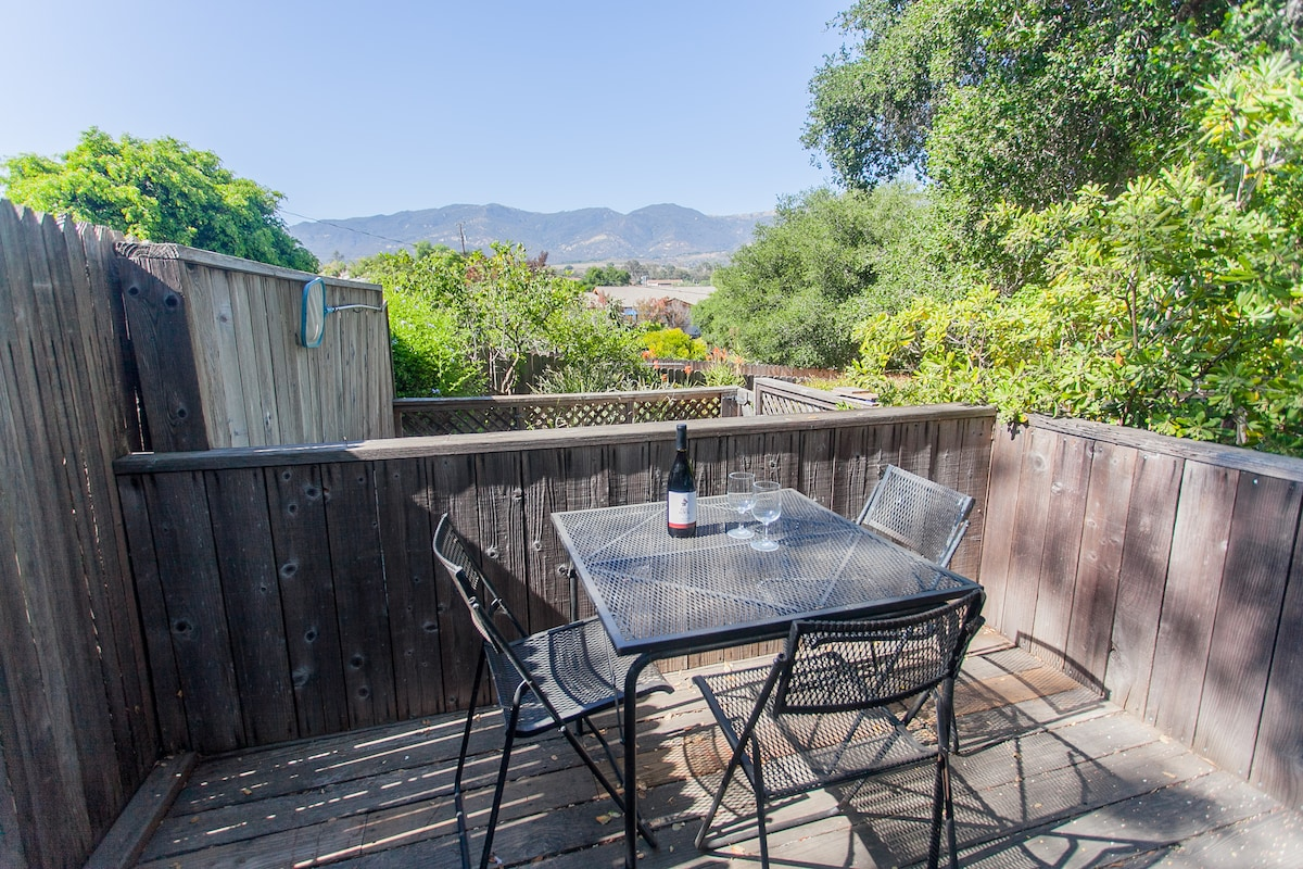 Mountain view deck in a serene setting