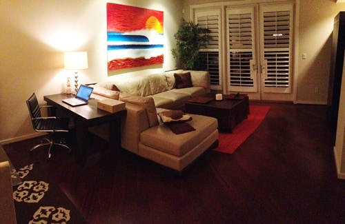 Living room - Contemporary furnishings throughout the condo.