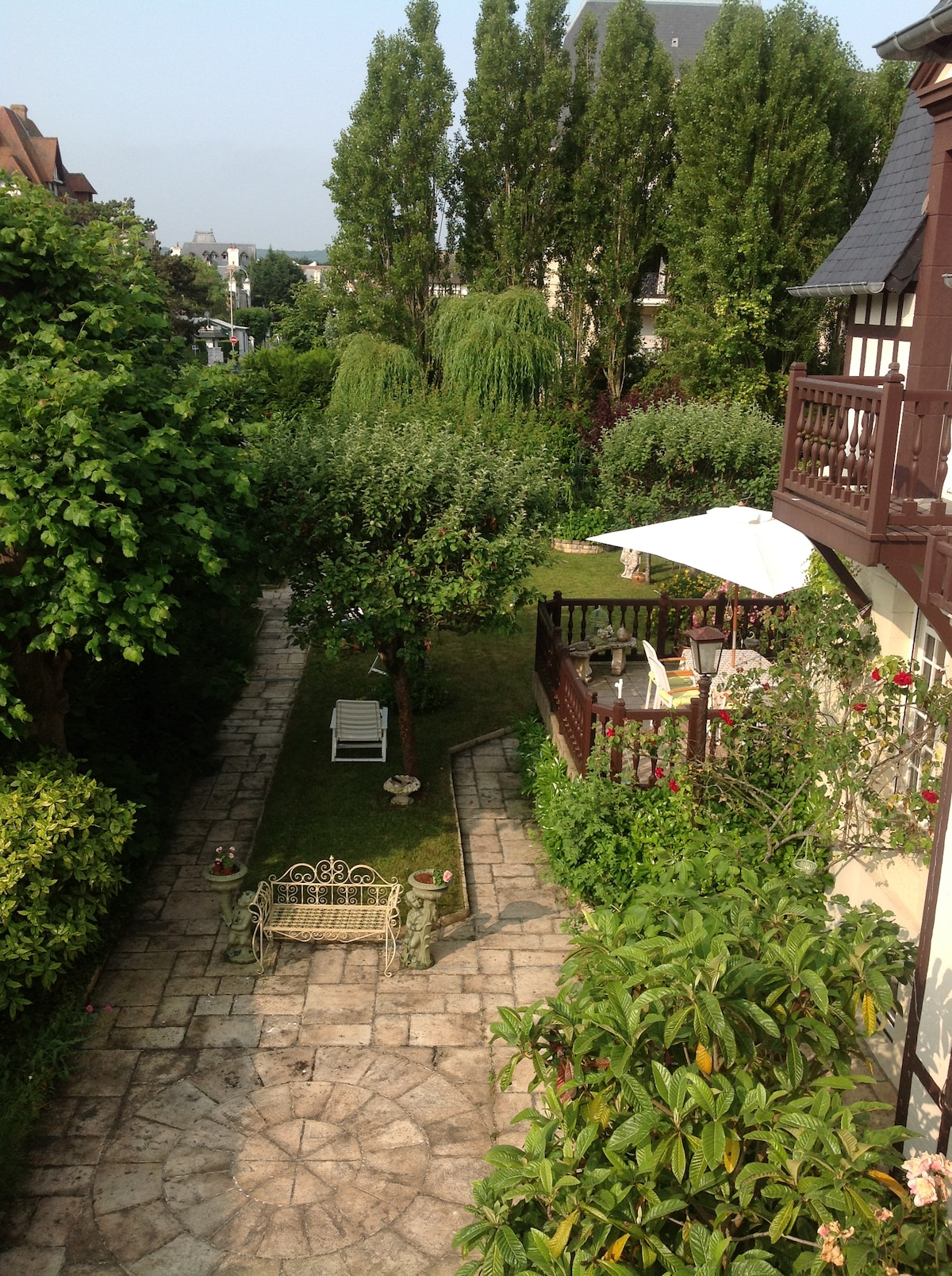 View from the terrasse of the room toile de Jouy