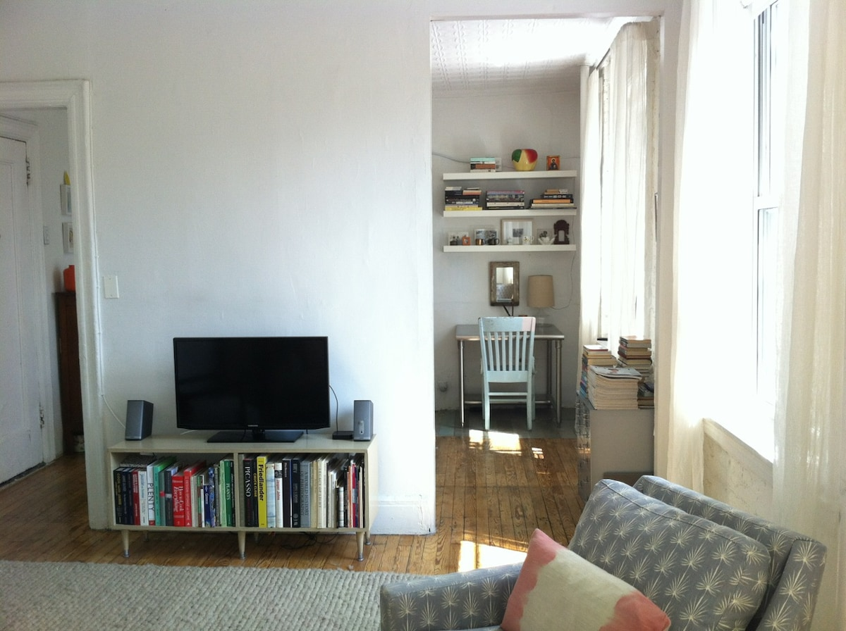Living room looking into Dining (website hidden)/Netflix/Hulu/Apple TV