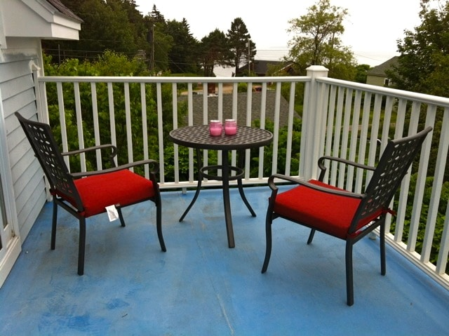 Deck located just off the kitchen / living room area through sliding doors; overlooks Casco Bay and Sebasco fishing village.  Beautiful in all seasons!