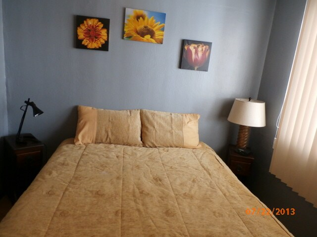 Queen size bed plus plenty of closet space in adjoining room.
