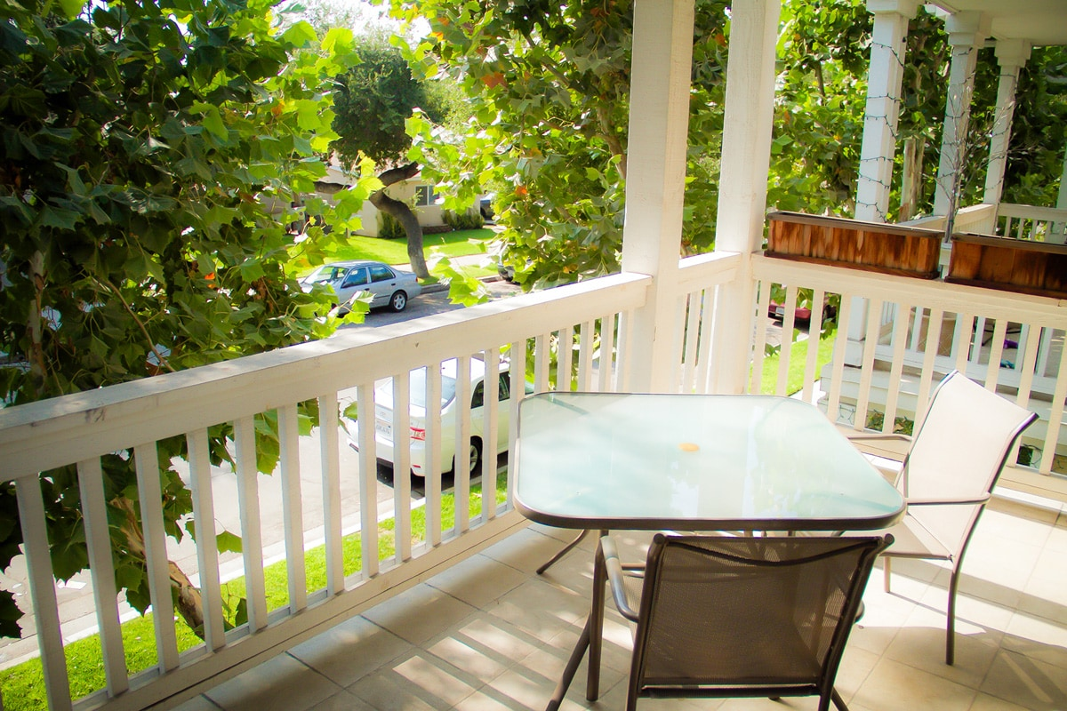 Relax on the second-story tree-lined balcony.