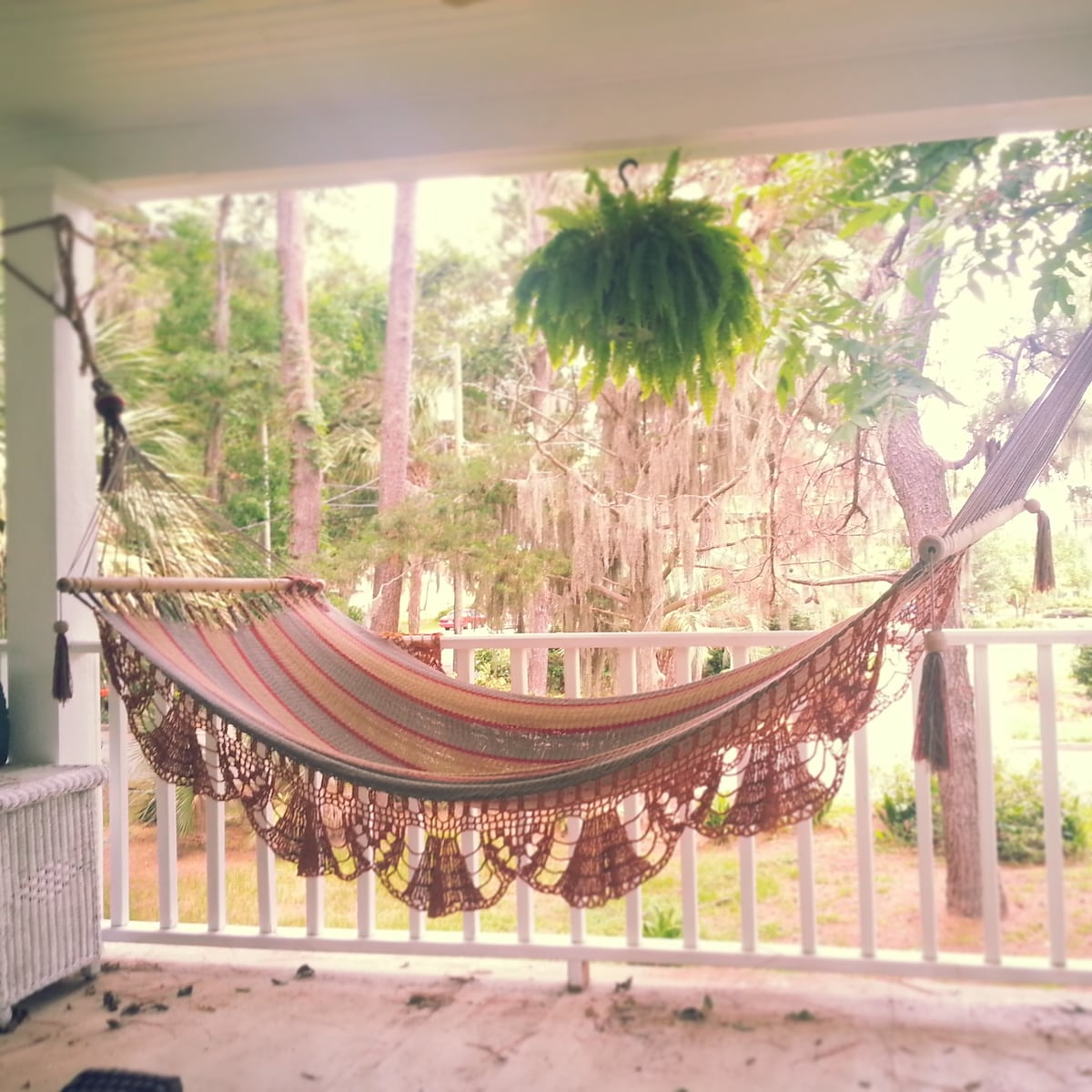 Perfect hammock for anytime! On the upper back porch. :)