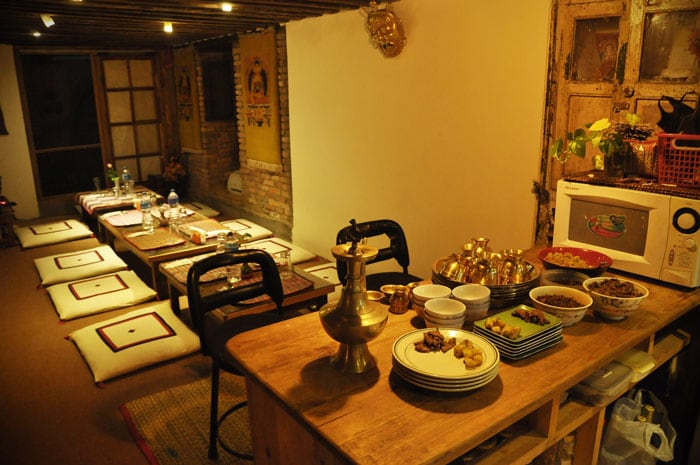 The shared kitchen: You can cook your own food here or enjoy a Nepali meal with your hosts Prakash and Premila