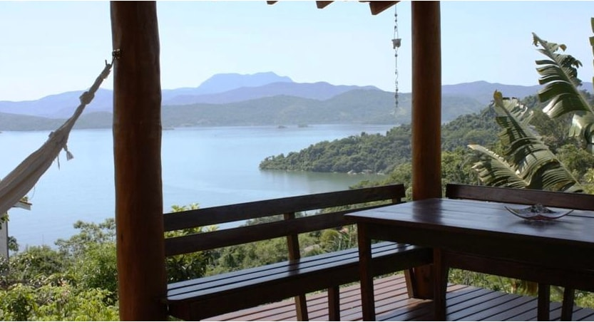 The main deck area with stunning view over Paraty bay