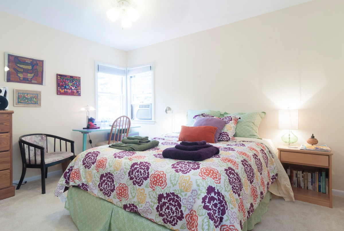 This is a queen bedroom in a corner room w/air conditioner.