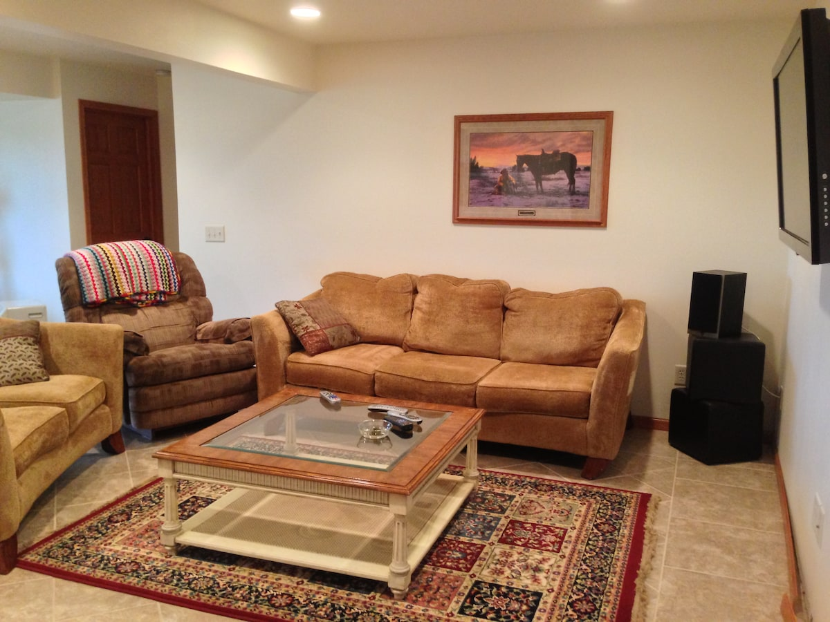 Your own living room area to relax in.