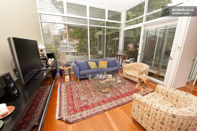 quiet living area with windows to parks and gardens