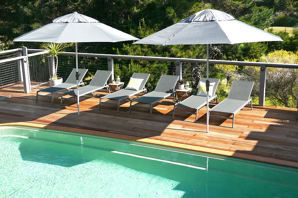 Expansive decking and resort style seating - overlooking pool, tennis court and Sorrento Golf Course