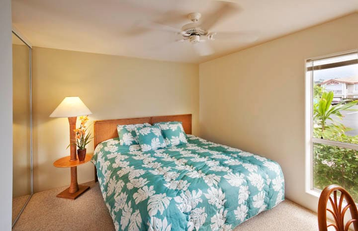 Guest bedroom features a pillowtop mattress that can be made as a king or two twin beds.