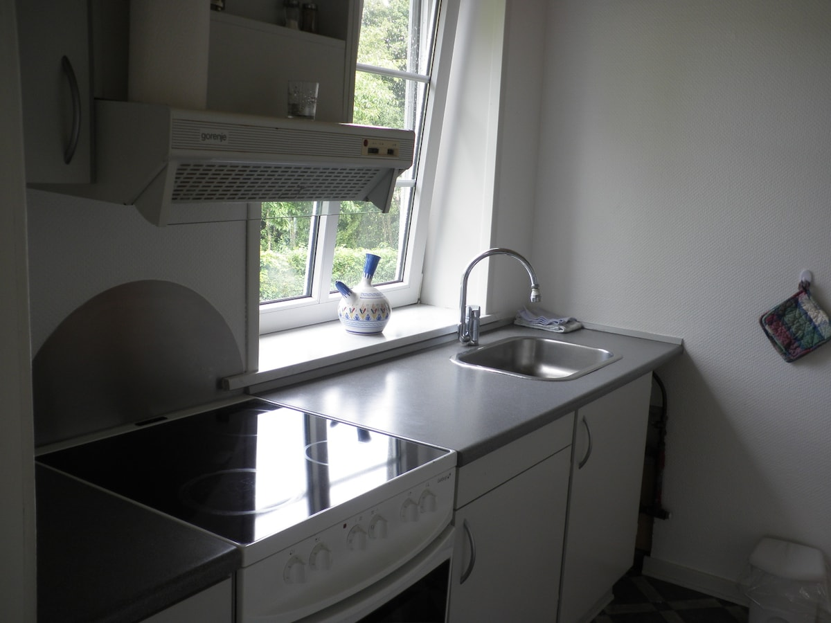 Køkkenet, her er kaffemaskine, vandkoger, brødrister m.m.
