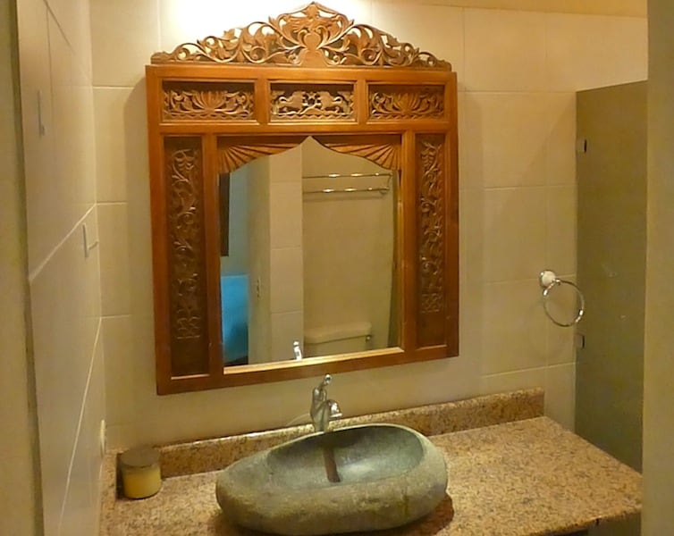Beautiful bali style bathrooms.