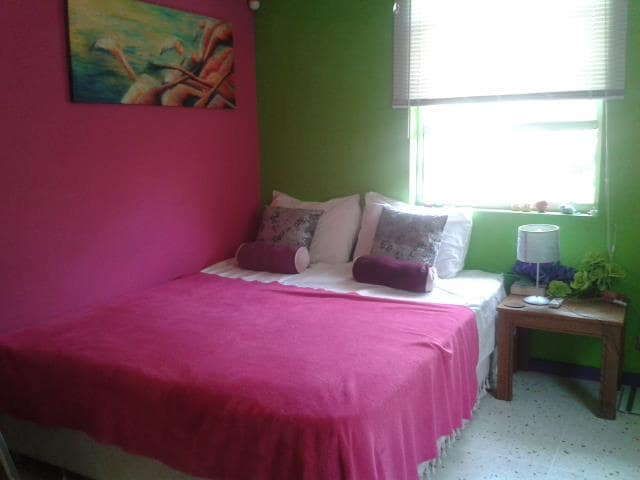 Flamingo double room with shared bathroom. Wanneer de eenpersoons kamer bezet is, is de tweepersoonskamer voor dezelfde prijs te boeken. Airco optioneel
