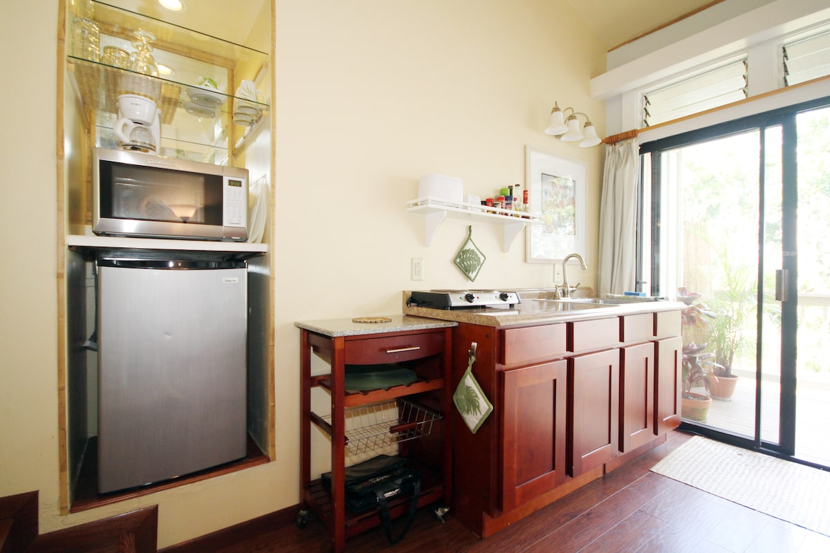 Fully stocked Kitchen (ette) with cabinets full of everything you'll need for cooking in.