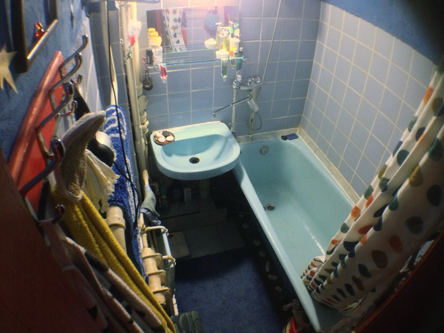 toilet and bathroom in separate rooms.