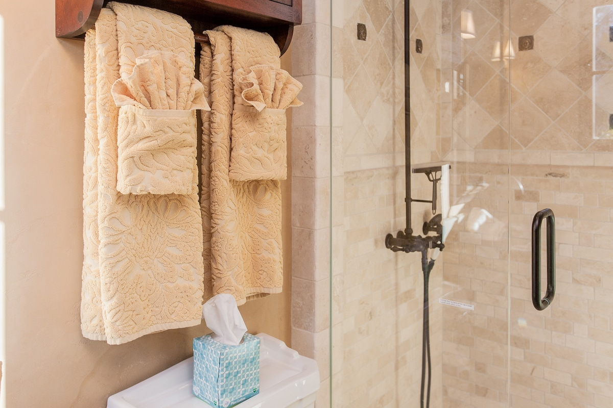 Luxury bath towels.