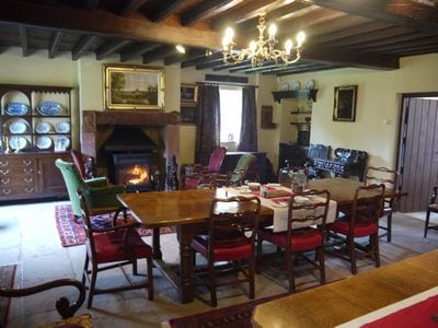 Magnificent dining room with cosy logburner