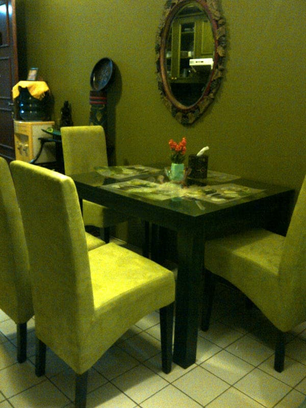 Our new look with the new dining table....