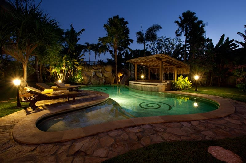 Pool view by night.