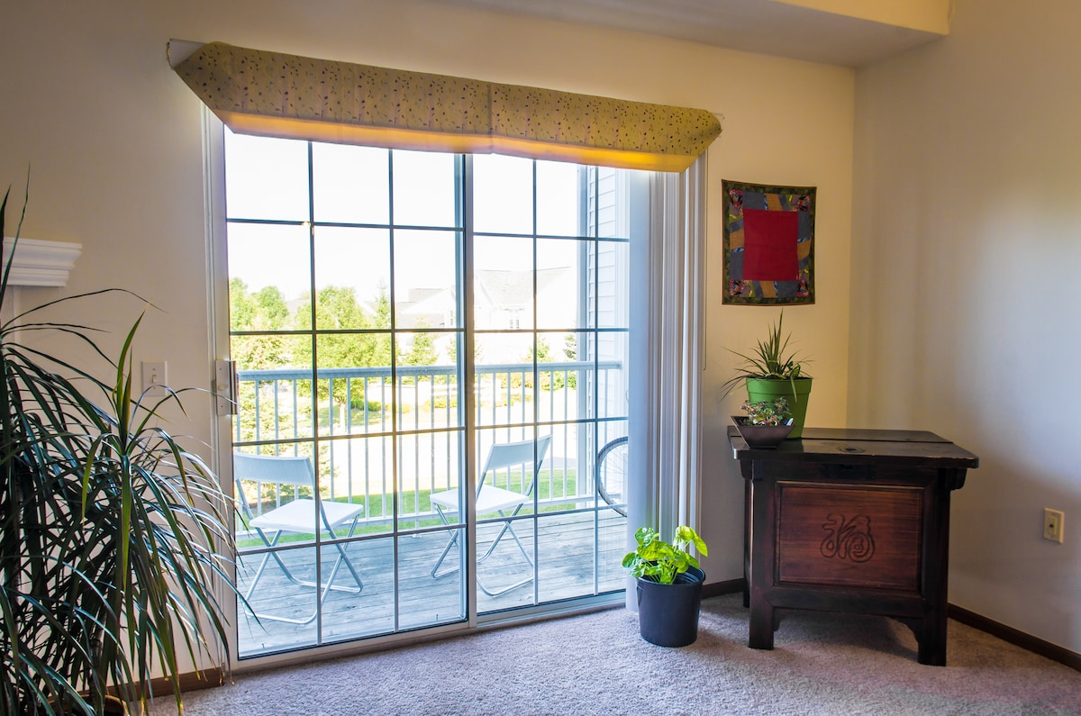 Patio and all picture windows are west-facing for plenty of natural light throughout the day.