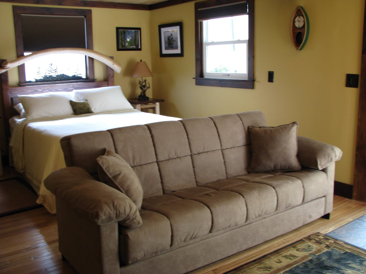 Comfortable couch that converts to a full sized bed.