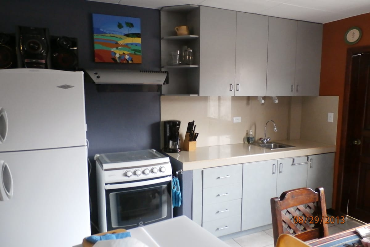 Kitchen, with full-height fridge, cooktop, oven, plus dishes, microwave, toaster, blender, pots/pans.