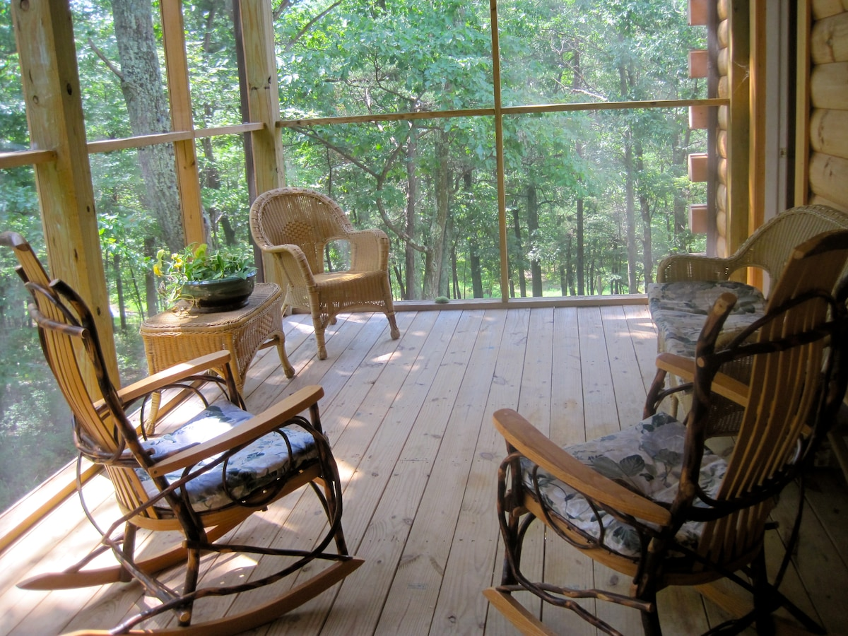 Screened Porch Bent Wood Rockers, Wicker, Hot Tub