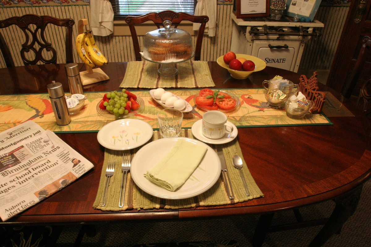 A healthy breakfast is served each morning in our dining room.