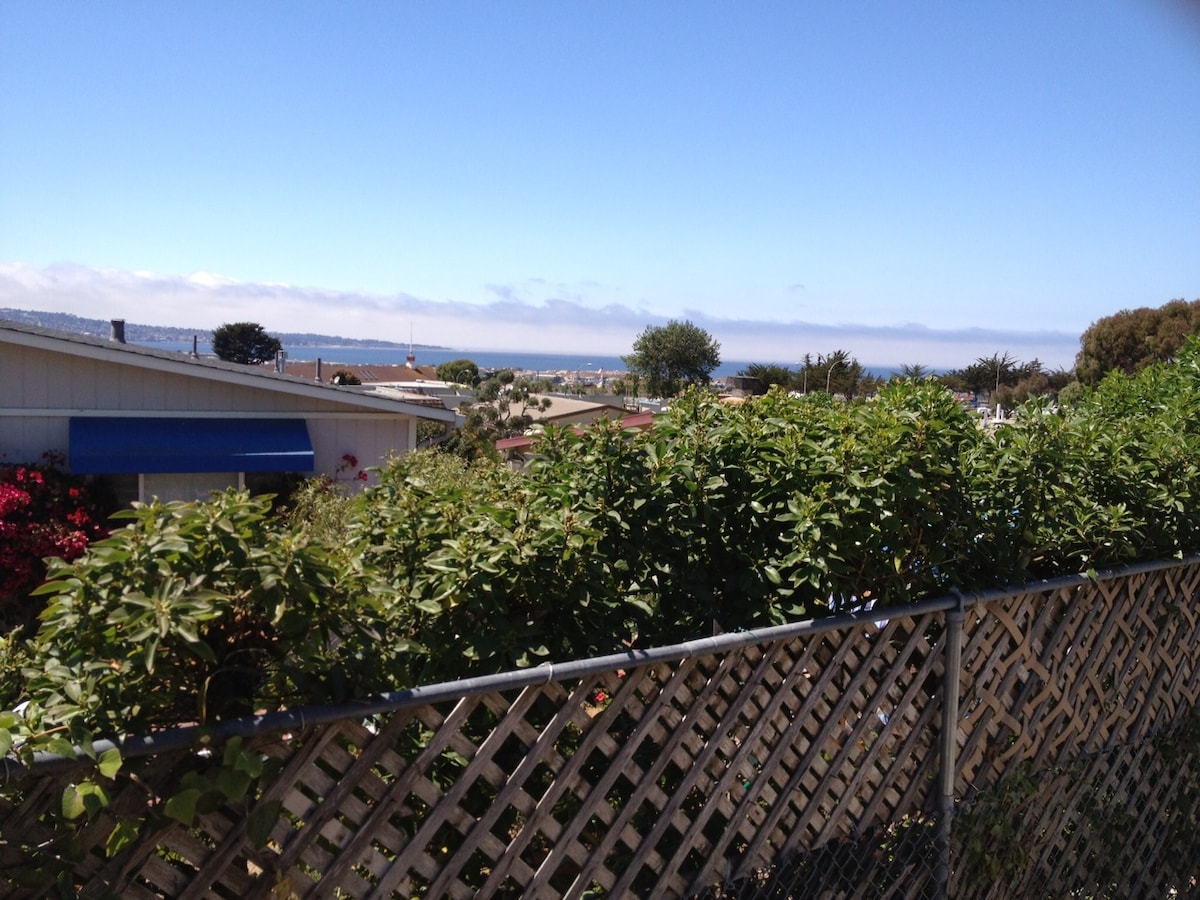 View of Monterey Bay from the deck. Enjoy beautiful sunsets over the Bay
