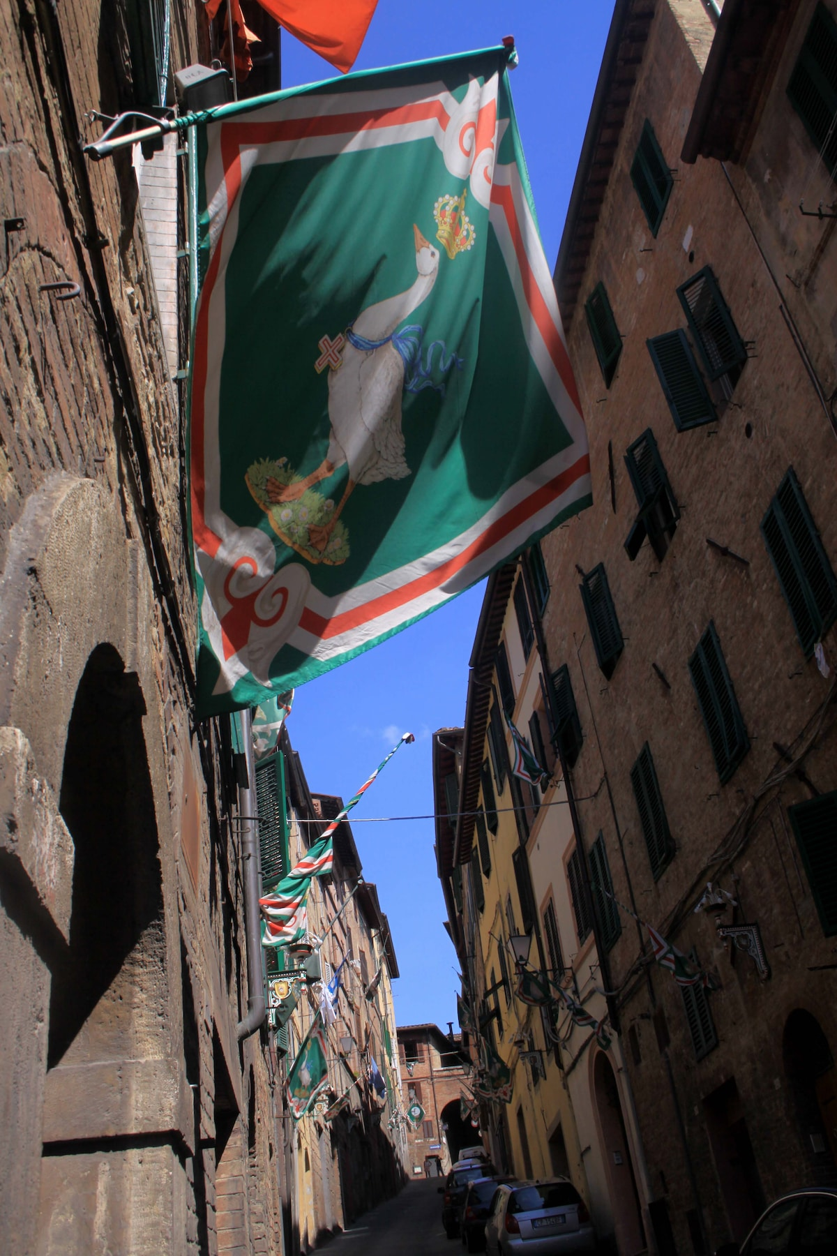 The flag of the Goose district in Santa Caterina street
