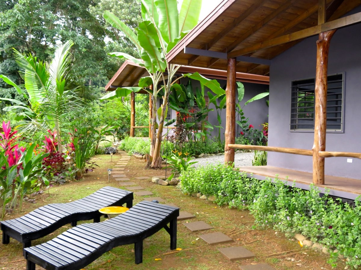 Front porches of casitas 25 yards from the pristine Rio Morete