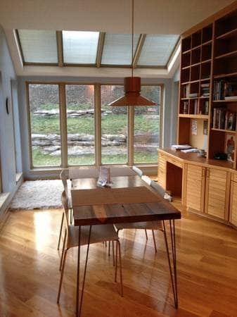 Eat in kitchen overlooks backyard and deck.  Kitchen is fully stocked with gourmet cookware.