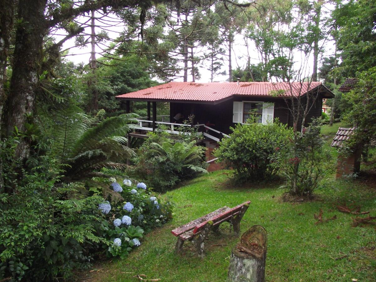 Vista do chalé e seu jardim.